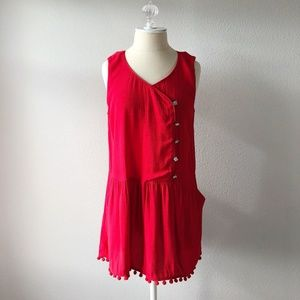 Moulinette Soeurs Red Pom Pom Hem Sleeveless Dress